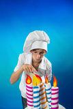 Confectioner with cake Royalty Free Stock Photography
