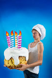 Confectioner with a cake Stock Photo