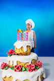 Confectioner with a cake Stock Image