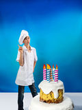 Confectioner with cake Stock Image