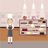 Confectioner with cakes. Vector illustration. royalty free illustration