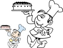 Confectioner carrying a cake Stock Photo