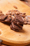 Confectioner. Chocolate and almonds. Royalty Free Stock Photo
