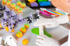 Confectioner with figures of halloween Stock Photo