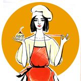 Confectioner girl in chef hat and red apron with cupcake in hand royalty free illustration