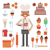 Confectioner Man Pies And Tools Concept Stock Image