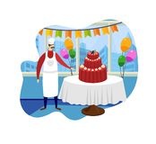 Confectioner Stand near Table with Big Tasty Cake. vector illustration