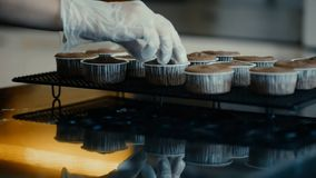 Confectioner touches baked muffins standing on table in kitchen indoors. stock video