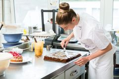 Confectioner woman getting chocolate cake ready with topping Stock Images