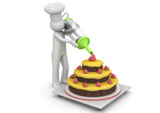 Confectioner working with creme Stock Photography