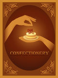 Confectionery � sign with almond cake Stock Photo
