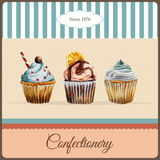 Confectionery advertisement with watercolor. Confectionery advertisement template with watercolor cupcakes illustration and typographic in retro style Royalty Free Stock Images