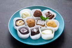 Confectionery, assortment of chocolate candies Royalty Free Stock Photo
