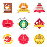 Confectionery And Bakery Flat Emblems Set Royalty Free Stock Photography