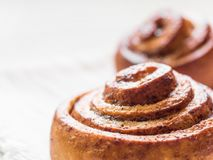Confectionery baking. Sweet fresh soft roll bun with cinnamon on white background. Cinnabon closeup.  stock photos