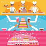 Confectionery Banners Set. Confectionery and sweet shop horizontal banners set with cake and pastry flat isolated vector illustration Royalty Free Stock Photo