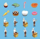 Confectionery Chef Isometric Icons Set. On blue background isolated vector illustration royalty free illustration