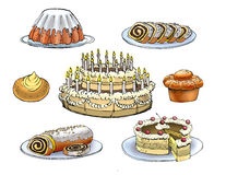 Confectionery. Colorful drawing of confectionery cakes pies and cookies vector illustration