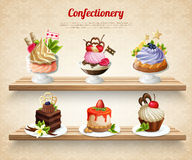 Confectionery Colorful Illustration. Confectionery with colorful desserts and yummy cakes on wooden shelves on textured beige background vector illustration vector illustration