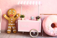 Confectionery decorated pink room Stock Photos