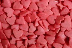 Sugar hearts for cake decoration. royalty free stock photography
