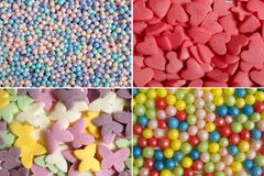 Confectionery decorations for cake. Assortment of various sugar ornaments. Collage stock photo
