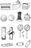 Confectionery doodle set Royalty Free Stock Image