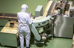 Confectionery factory. Worker behind the conveyor in shop of confectionery factory Royalty Free Stock Photos