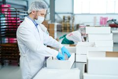 Confectionery factory employee preparing empty box. Side view of confectionery factory worker standing in white coat and preparing empty paper box stock photo