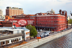 Confectionery factory Red October Bersenevskaya embankment, Moscow river Stock Photo