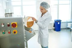 Confectionery factory worker pouring rainbow sprinkles into machine Royalty Free Stock Photography