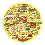 Confectionery icon. Set of cute various desserts icons. Royalty Free Stock Photos