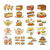 Confectionery icon. Set of cute various desserts icons. Royalty Free Stock Photo