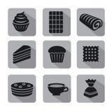 Confectionery icon set Stock Photos