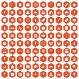 100 confectionery icons hexagon orange Stock Photos