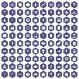 100 confectionery icons hexagon purple. 100 confectionery icons set in purple hexagon isolated vector illustration royalty free illustration