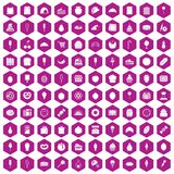 100 confectionery icons hexagon violet. 100 confectionery icons set in violet hexagon isolated vector illustration Vector Illustration
