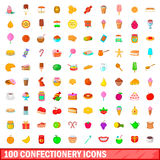 100 confectionery icons set, cartoon style Royalty Free Stock Images