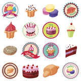 Confectionery icons set, cartoon style Stock Photography