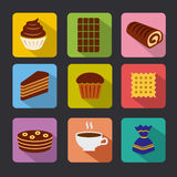 Confectionery icons. Set of different confectionery icons royalty free illustration