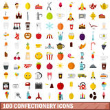 100 confectionery icons set, flat style Stock Photography