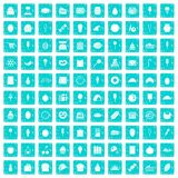 100 confectionery icons set grunge blue Stock Image