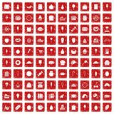 100 confectionery icons set grunge red. 100 confectionery icons set in grunge style red color isolated on white background vector illustration Stock Photos
