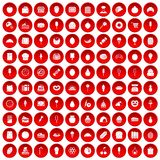 100 confectionery icons set red. 100 confectionery icons set in red circle isolated on white vectr illustration Stock Images