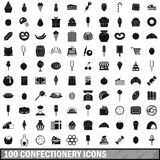 100 confectionery icons set, simple style. 100 confectionery icons set in simple style for any design vector illustration Stock Illustration