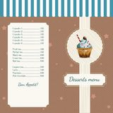 Confectionery menu template with watercolor. Cafe menu template with watercolor cupcake illustration in retro style Royalty Free Stock Photography