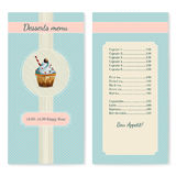 Confectionery menu template with watercolor. Cupcake illustration in retro style Royalty Free Stock Image