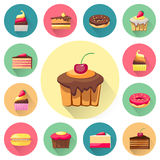 Confectionery set of  cakes icons with Stock Images