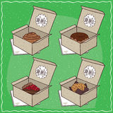 Confectionery set in carton boxes Stock Photo