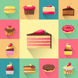 Confectionery set of isolated cakes icons with Royalty Free Stock Photos
